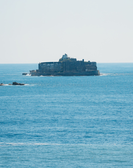 軍艦島の見える丘からの眺め